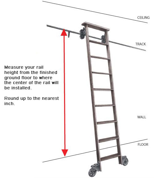 Cotterman Wood Rolling Library Ladder Kit Track Height