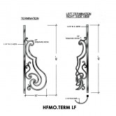 House of Forgings HFMO.TERM-LF Milano Terminating Panel for Left Termination