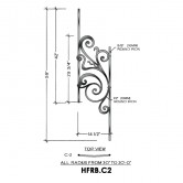 House of Forgings HFRB.C2 Rebecca Concave Panel for 40 - 52 Degree Angles