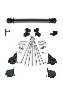 "Quiet Glide Rolling 16""W Library Ladder (Hardware Only) Kit - Black Finish - Rolling Fixtures"
