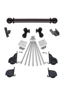 "Quiet Glide Rolling 16""W Library Ladder (Hardware Only) Kit - Black Finish - Rolling Hook Fixtures"