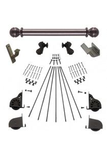 "Quiet Glide Rolling 20""W Library Ladder (Hardware Only) Kit - Oil Rubbed Bronze Finish - Rolling Hook Fixtures"