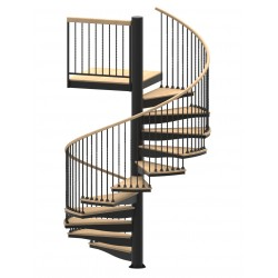 """84""""D Blacksmith Collection Forged Iron Code Compliant Spiral Stair Kit - 85"""" - 152"""""""