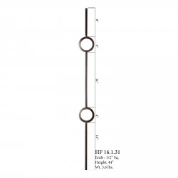 "House of Forgings 16.1.31 - 1/2"" Double Ring Solid Baluster - Satin Black"