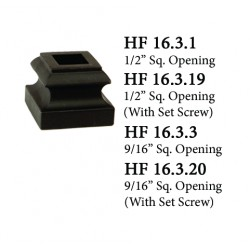 """House of Forgings Aluminum Standard Shoes with Set Screw for 1/2"""" Square Ended Balusters"""