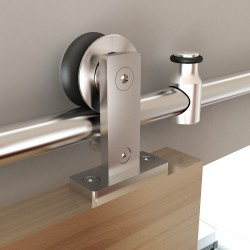 "Quiet Glide NT.1400.01W.SS 96"" Stainless Steel Top Mount Style Rolling Door Hardware Kit for Wood Doors"