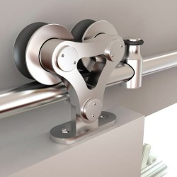 "Quiet Glide NT.1400.02W.SS 96"" Stainless Steel Dual Wheel Top Mount Style Rolling Door Hardware Kit for Wood Doors"