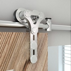 "Quiet Glide NT.1400.06WG.SS 96"" Stainless Steel Dual Wheel Strap Style Rolling Door Hardware Kit for Glass or Wood Doors"