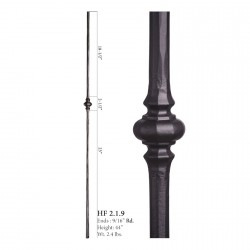 """House of Forgings 9/16"""" Single Knuckle Solid Round Balusters"""
