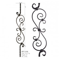 "House of Forgings 9/16"" Scroll 15-9/16"" x 5 1/4"" Solid Square Balusters"