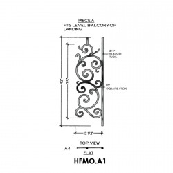 House of Forgings HFMO.A1 Milano Flat Panel for Level Balcony / Straight Rail