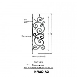 House of Forgings HFMO.A2 Milano Concave Panel for Level Balcony / Straight Rail