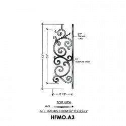 House of Forgings HFMO.A3 Milano Convex Panel for Level Balcony / Straight Rail
