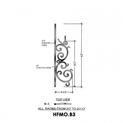 House of Forgings HFMO.B3 Milano Convex Panel for Up to 48 Degree Angles