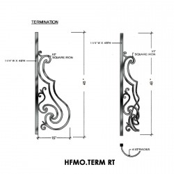 House of Forgings HFMO.TERM-RT Milano Terminating Panel for Right Termination