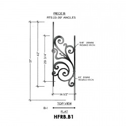 House of Forgings HFRB.B1 Rebecca Flat Panel for 23 - 39 Degree Angles