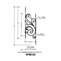House of Forgings HFRB.B3 Rebecca Convex Panel for 23 - 39 Degree Angles