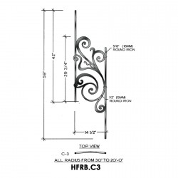 House of Forgings HFRB.C3 Rebecca Convex Panel for 40 - 52 Degree Angles