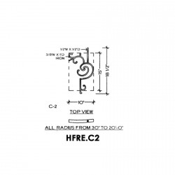 House of Forgings HFRE.C2 Regency Half Height Concave Panel for Up to 48 Degree Angles