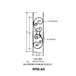 House of Forgings HFSE.A2 Seville Concave Panel for Level Balcony / Straight Rail