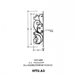 House of Forgings HFTU.A3 Tuscany Convex Panel for Level Balcony / Straight Rail