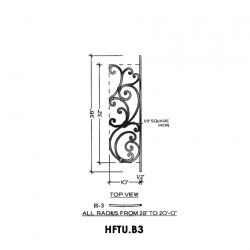 House of Forgings HFTU.B3 Tuscany Convex Panel for Level Balcony / Straight Rail