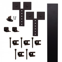 "Quiet Glide QG.FR1300.D3.08 Flat Rail Dually Strap Style Rolling Door Hardware Kit with 3"" Roller - Black - Fits Doors Up to 1-1/2"""