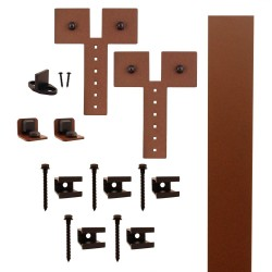"Quiet Glide QG.FR1300.D3.09 Flat Rail Dually Strap Style Rolling Door Hardware Kit with 3"" Roller - New Age Rust - Fits Doors Up to 1-1/2"""