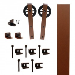 "Quiet Glide QG.FR1300.HK5.09 Flat Rail Hook Strap Style Rolling Door Hardware Kit with 5"" Roller - New Age Rust - Fits Doors Up to 1-1/2"""