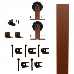 "Quiet Glide QG.FR1300.TM3.09 Flat Rail Top Mount Style Rolling Door Hardware Kit with 3"" Roller - New Age Rust - Fits Doors Up to 1-1/2"""