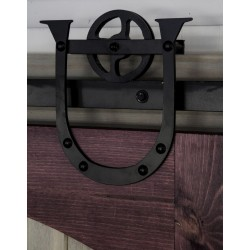 Quiet Glide HPIDHP1000 Heavy Duty Barn Door Horseshoe Style Hardware Kit - Black Finish