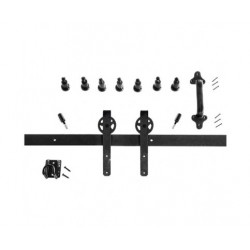 Quiet Glide HPIDHP5000KS Heavy Duty Barn Door Mini Strap Style Hardware Kit - Black Finish