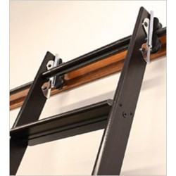"Quiet Glide Rolling 16""W Library Ladder Kit (With Ladder) - Chrome Finish - Rolling Hook Fixtures"