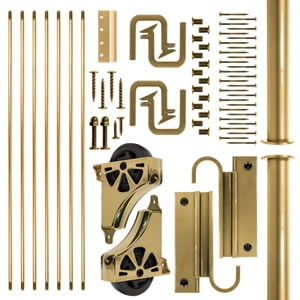 Library Ladder Kits with Polished Brass Hardware