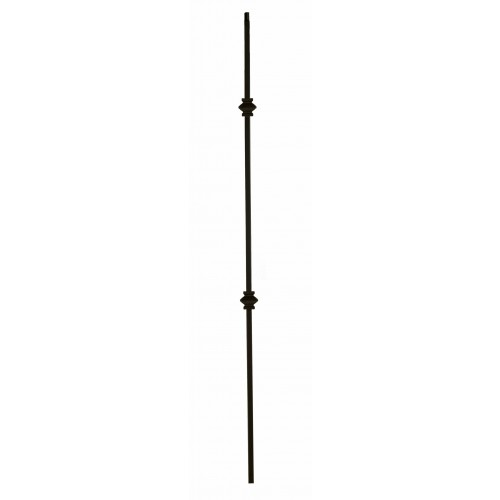 """2KNUC44 Double Knuckle 1/2"""" Sq. Baluster Flat Black - SOLID"""