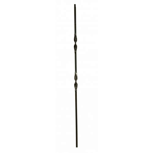 """2RIB44 Double Ribbon 1/2"""" Sq. Baluster Antique Bronze - SOLID"""