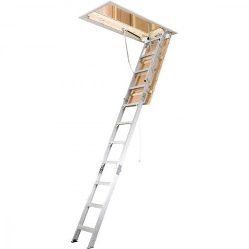 "Werner AH2512 25""W x 66""L Aluminum Attic Ladder - 10'5""H to 12'H"