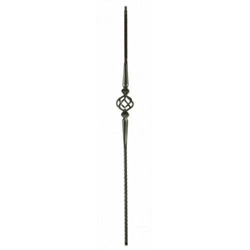 "M16044 Single Basket w/ Spoons 9/16"" Sq. Baluster - Satin Black - LITE"