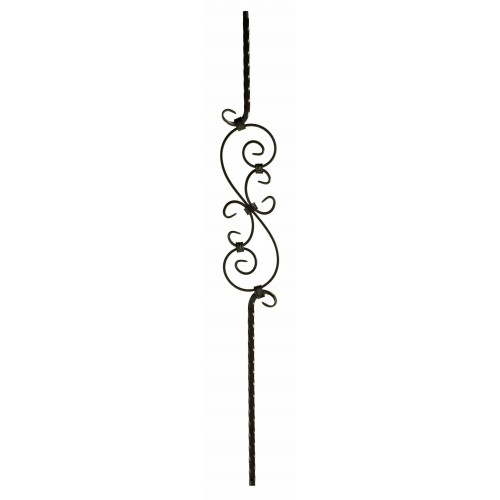 """M30344 Three Piece Scroll 9/16"""" Sq. Baluster - Oil Rubbed Bronze - SOLID"""
