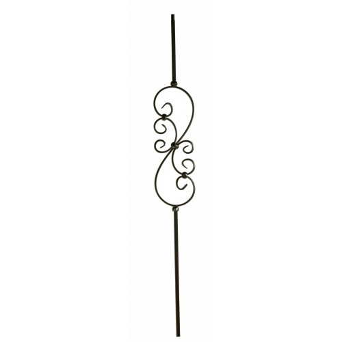 "M50144 Small Scroll 1/2"" Sq. Baluster - Satin Black - LITE"