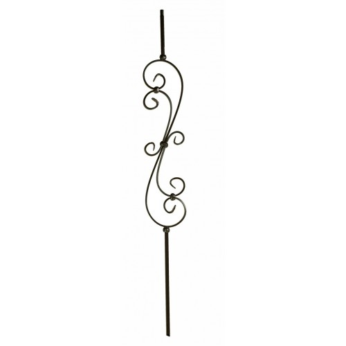 """M60144 Skinny Scroll 1/2"""" Sq. Baluster - Antique Bronze - SOLID"""