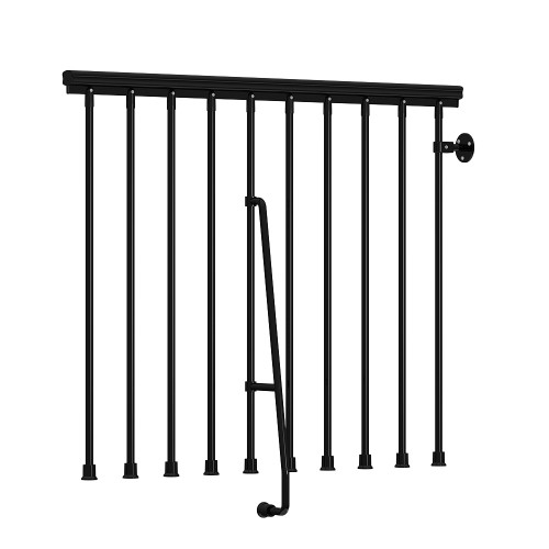 "Arke Nice Stairway Balcony Rail Kit - 3' 10""L Section - Black Gloss Enamel"