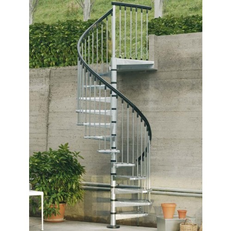 """Arke Enduro 47"""" Dia. Steel Outdoor Spiral Staircase Kits"""
