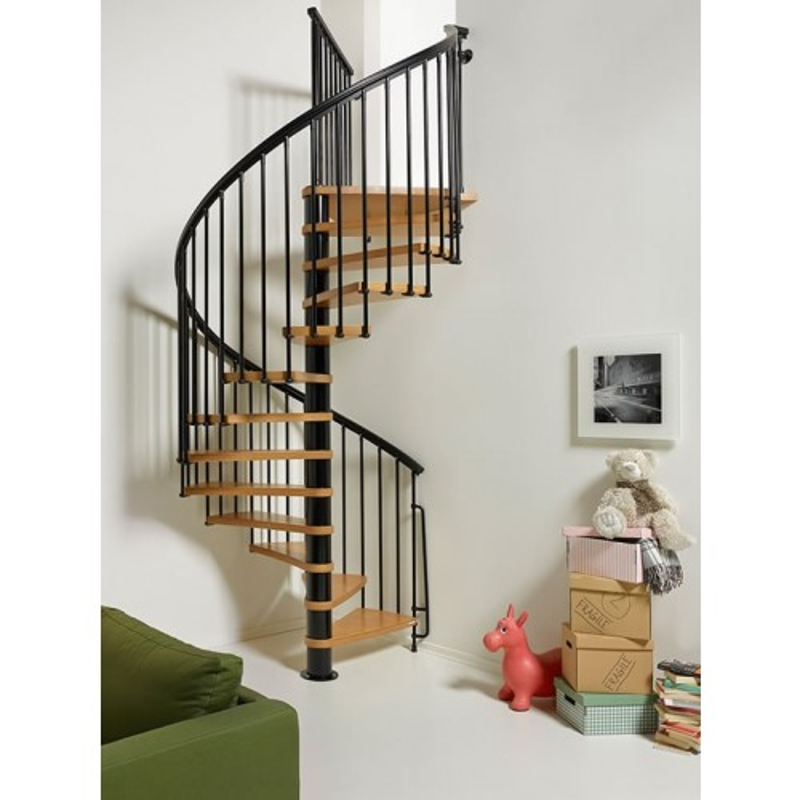 "Arke Nice1 63"" Dia. Wood Tread Spiral Staircase Kits"