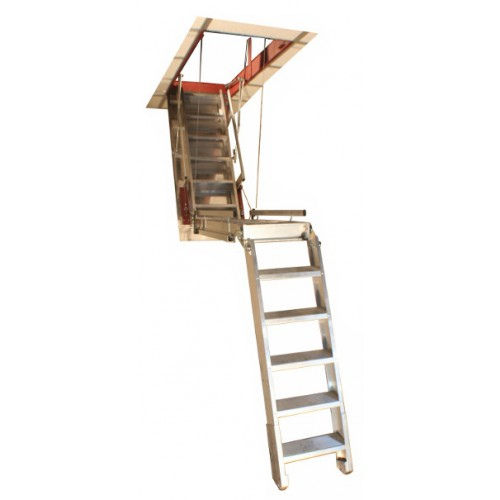 "Precision Super Simplex Attic Stair w/Deep Box Frame (37""-60""D) for Ceilings 12'1""-13'6""H"
