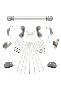 """Quiet Glide Rolling 20""""W Non-Rolling Library Ladder with Non-Skid Feet (Hardware Only) Kit - Satin Nickel Finish"""