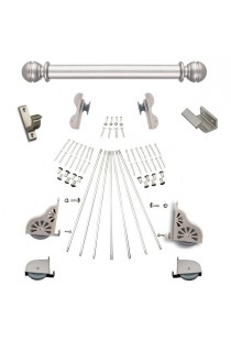 "Quiet Glide Rolling 20""W Library Ladder (Hardware Only) Kit - Satin Nickel Finish - Rolling Hook Fixtures"