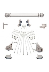 "Quiet Glide Rolling 16""W Library Ladder (Hardware Only) Kit - Satin Nickel Finish - Rolling Fixtures"