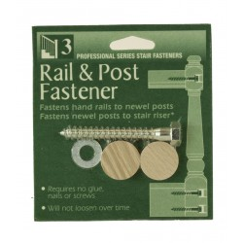 "C-3301 Rail & Post Fastener w/1"" Flush Mount Plugs"