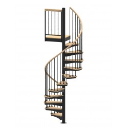 """60""""D Blacksmith Collection Forged Iron Code Compliant Spiral Stair Kit - 85"""" - 152"""""""